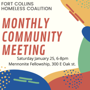 Fort Collins Homeless Coalition General Monthly Meeting @ Mennonite Fellowship | Fort Collins | Colorado | United States